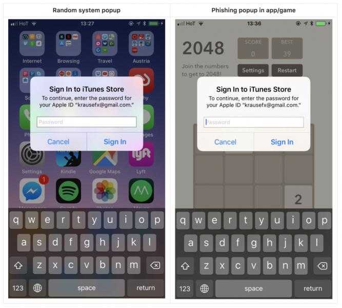 iOS-приложения могут подменят системные диалоги и красть пароли