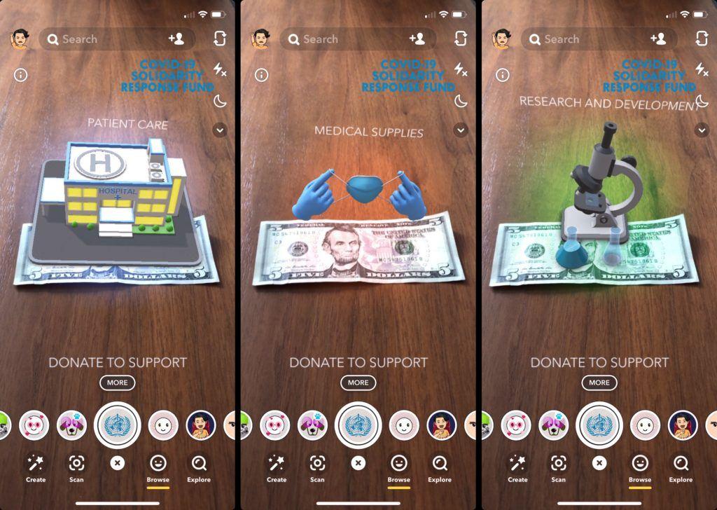 Snapchat запустил AR-пожертвования для борьбы с коронавирусом